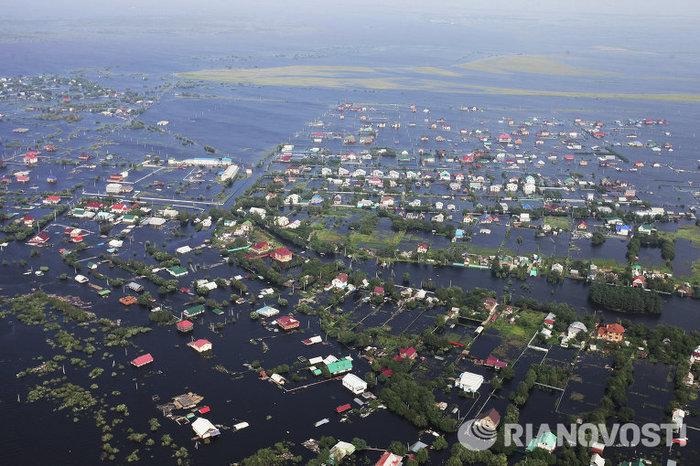 Затопленный населенный пункт на Дальнем Востоке