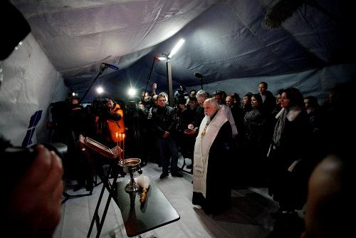 Председатель Синодального отдела по благотворительности епископ Пантелеимон совершил молебен в новом пункте обогрева