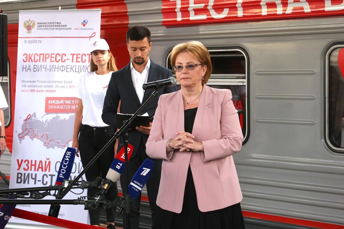 Министр здравоохранения России Вероника Скворцова на открытии передвижного пункта тестирования