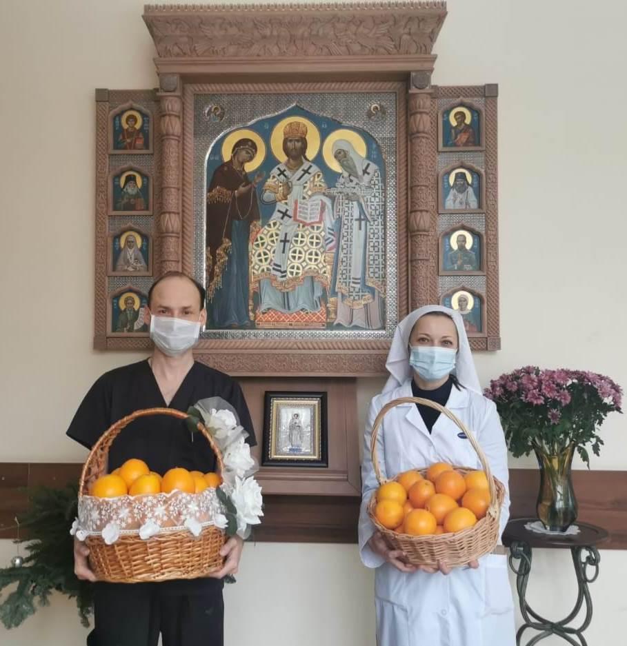 Апельсины, подаренные Святейшим Патриархом Кириллом для паллиативного отделения Больницы святителя Алексия