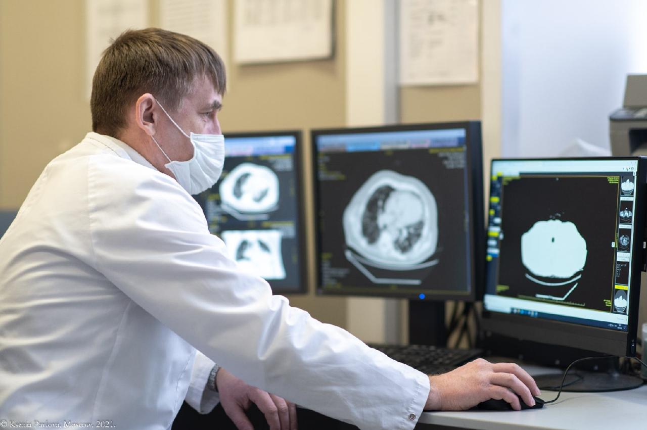 КТ-исследование легких с использованием искусственного интеллекта в Больнице Святителя Алексия. Фото: Ксения Павлова