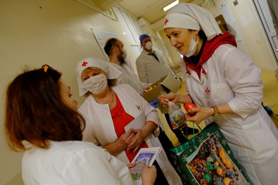 Поздравление с Пасхой в инфекционной клинической больнице №2 Москвы. Фото: Ольга Стефанова